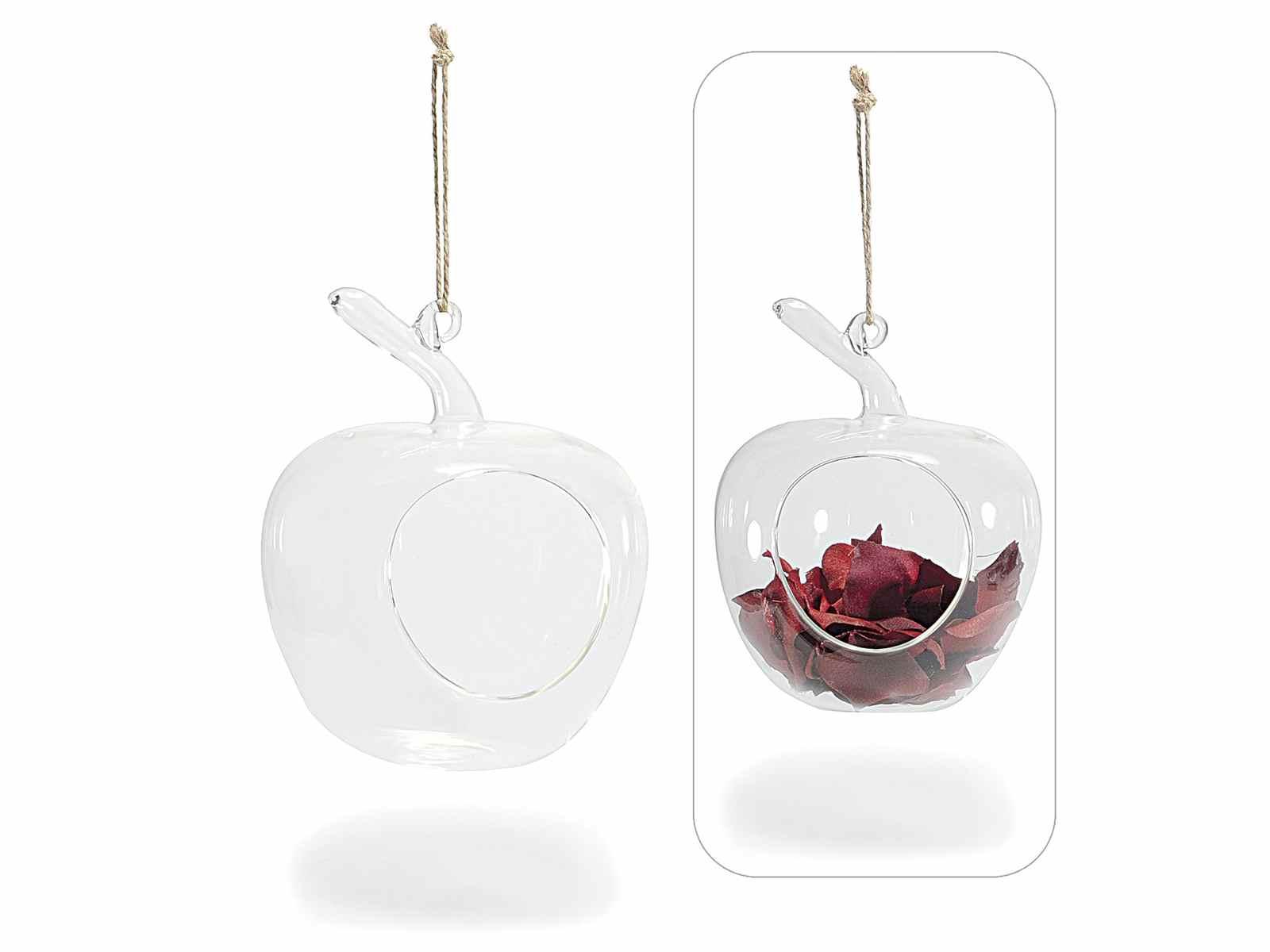 Contenitore a mela portafiori in vetro da appendere - Portafiori in vetro ...