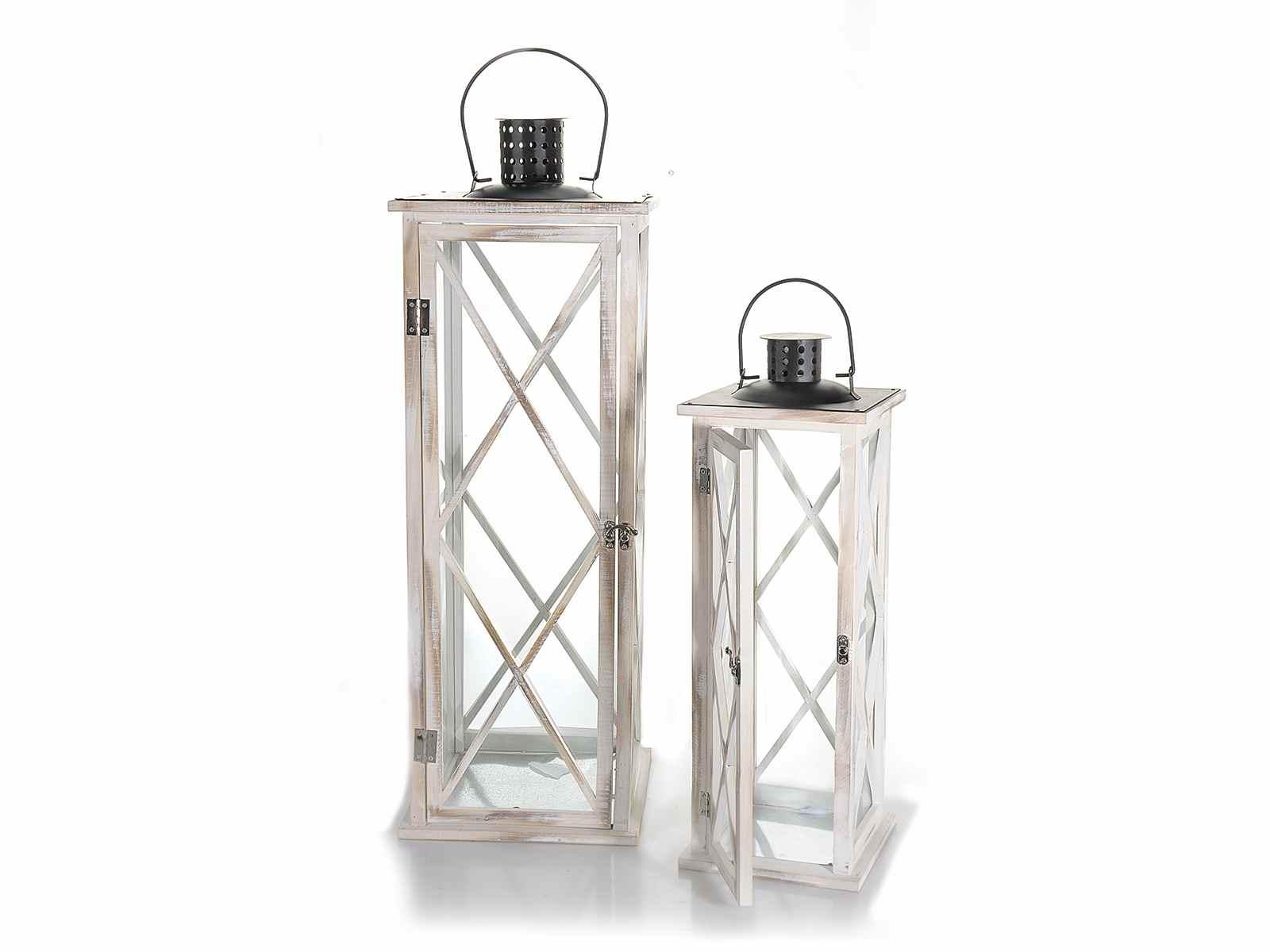 set 2 lanternes en bois blanc avec toit en m tal noir art from italy. Black Bedroom Furniture Sets. Home Design Ideas