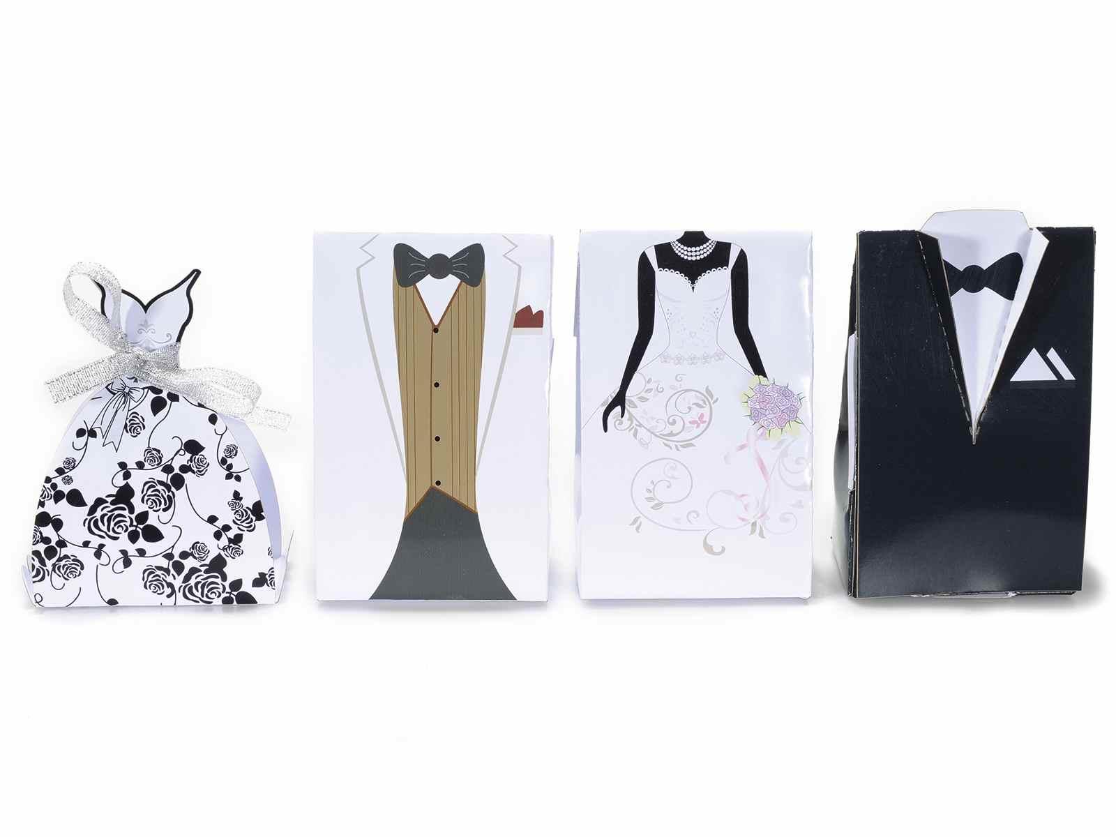 Scatola portaconfetti in carta decorata sposo e sposa 12 - Scatola porta rocchetti ...