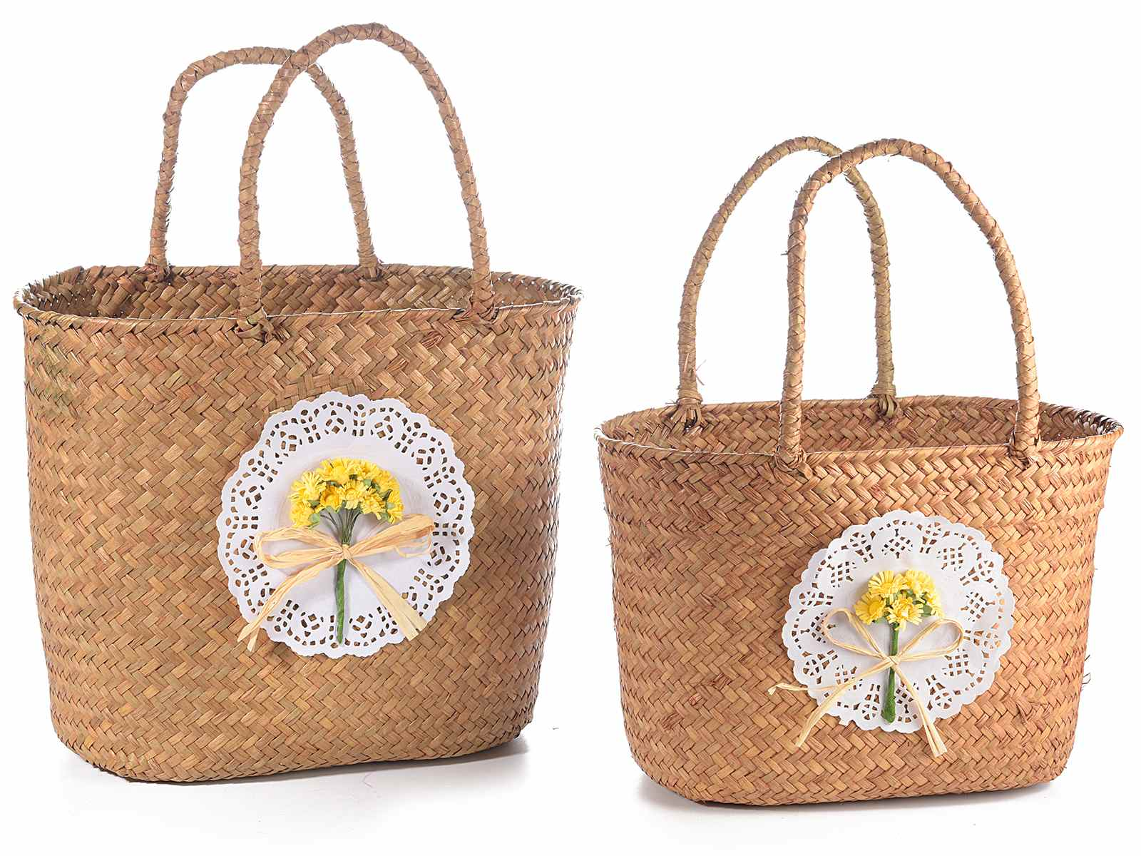cd298a4e1 Set de 2 bolsos de paja con asas y florecitas (58.05.28) - Art From ...