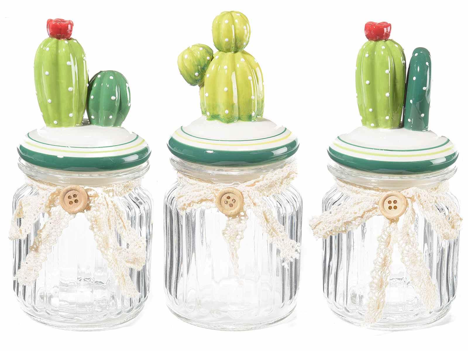 tarros de vidrio con tapa en forma de cactus - Tarros De Vidrio