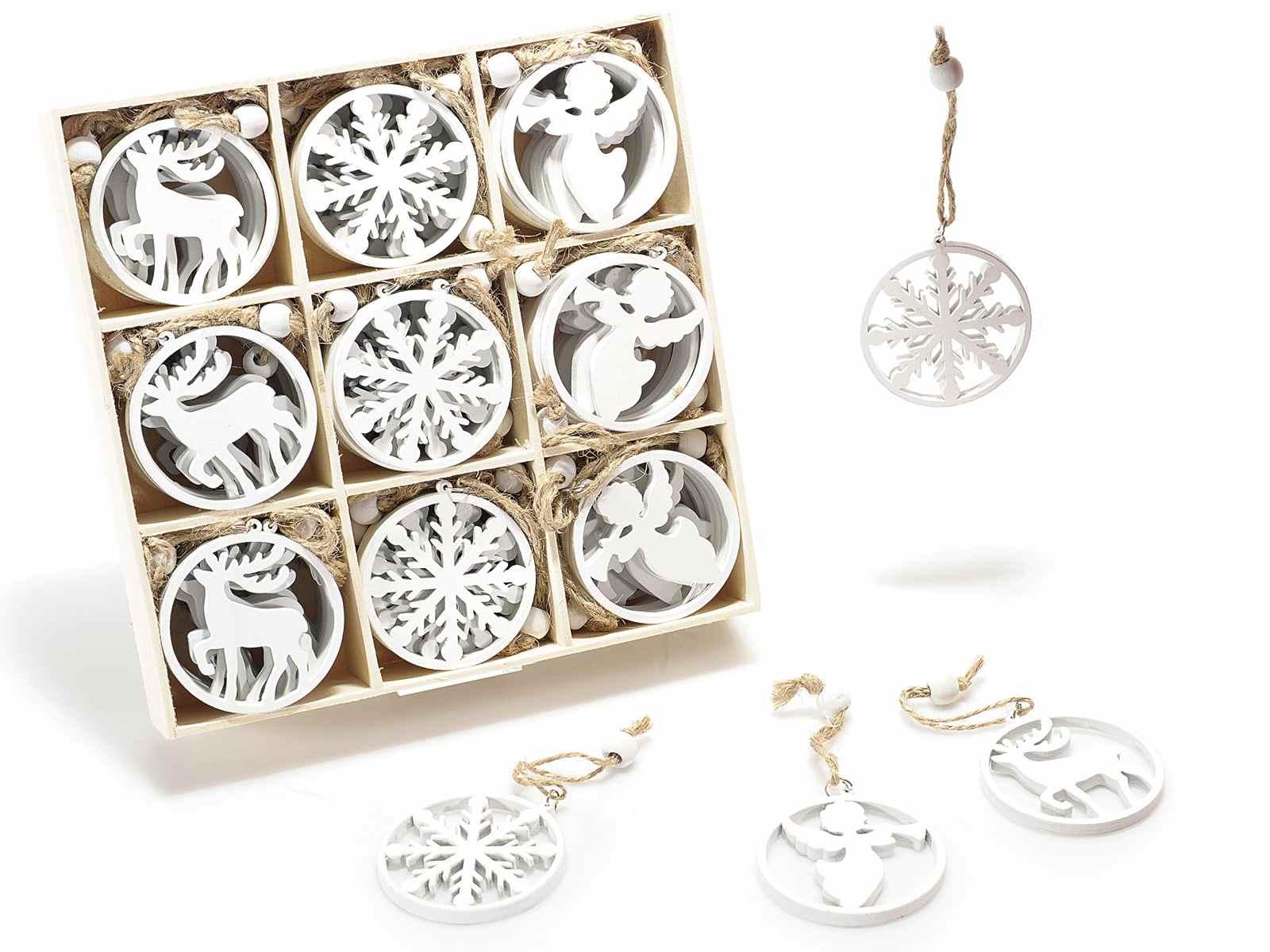 Espositore 72 decorazioni in legno bianco da appendere 51 - Decorazioni natalizie in legno ...