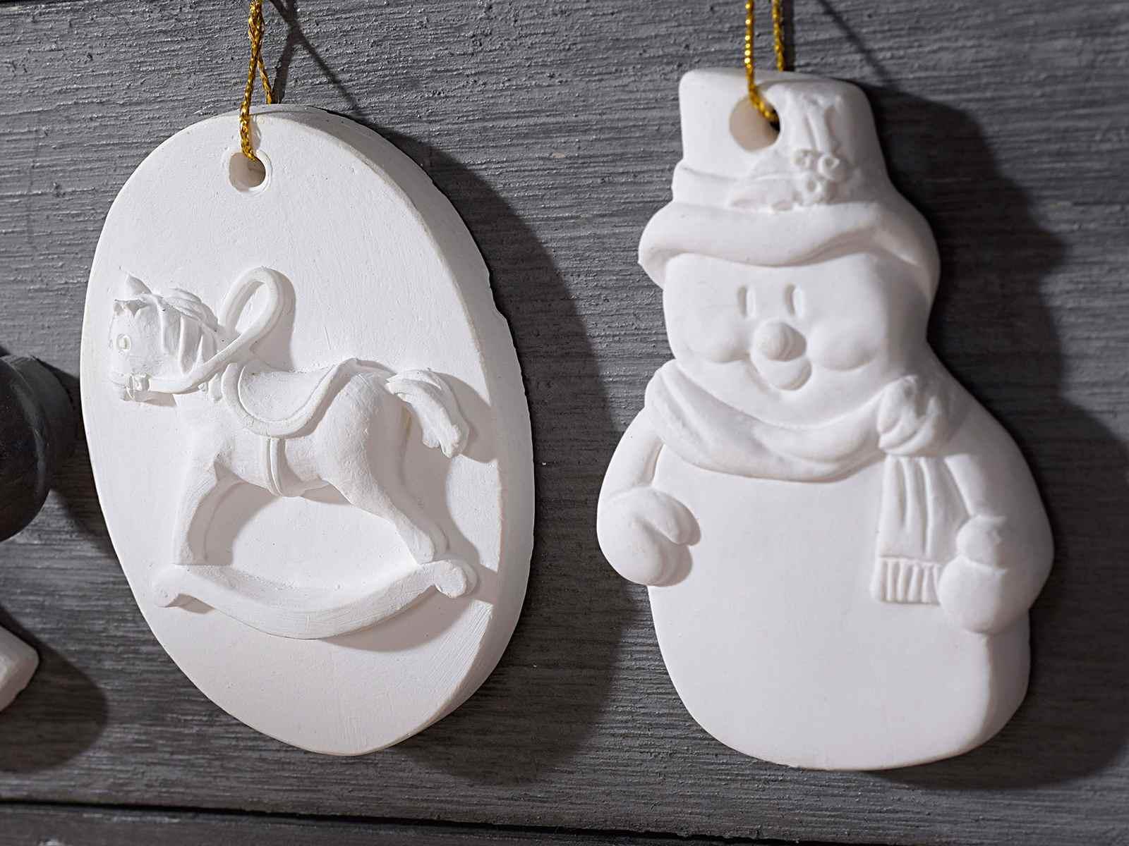 Conf 2 decorazioni natalizie in gesso da appendere art from italy - Decorazioni gesso ...