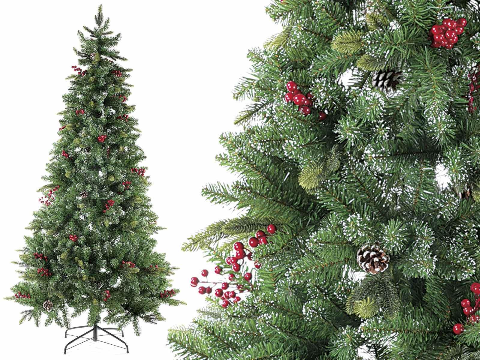 Albero Con Bacche Rosse pino artificiale americano c/963 rami, bacche rosse e pigne