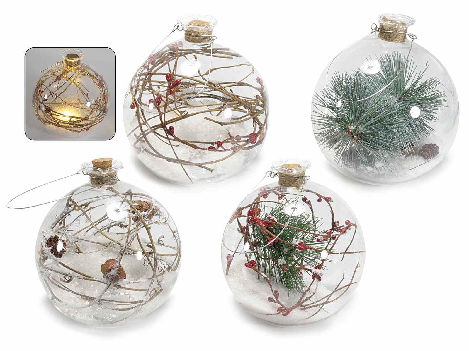 Pallina in vetro con decori naturali e luce bianco caldo for Lampadario palline vetro