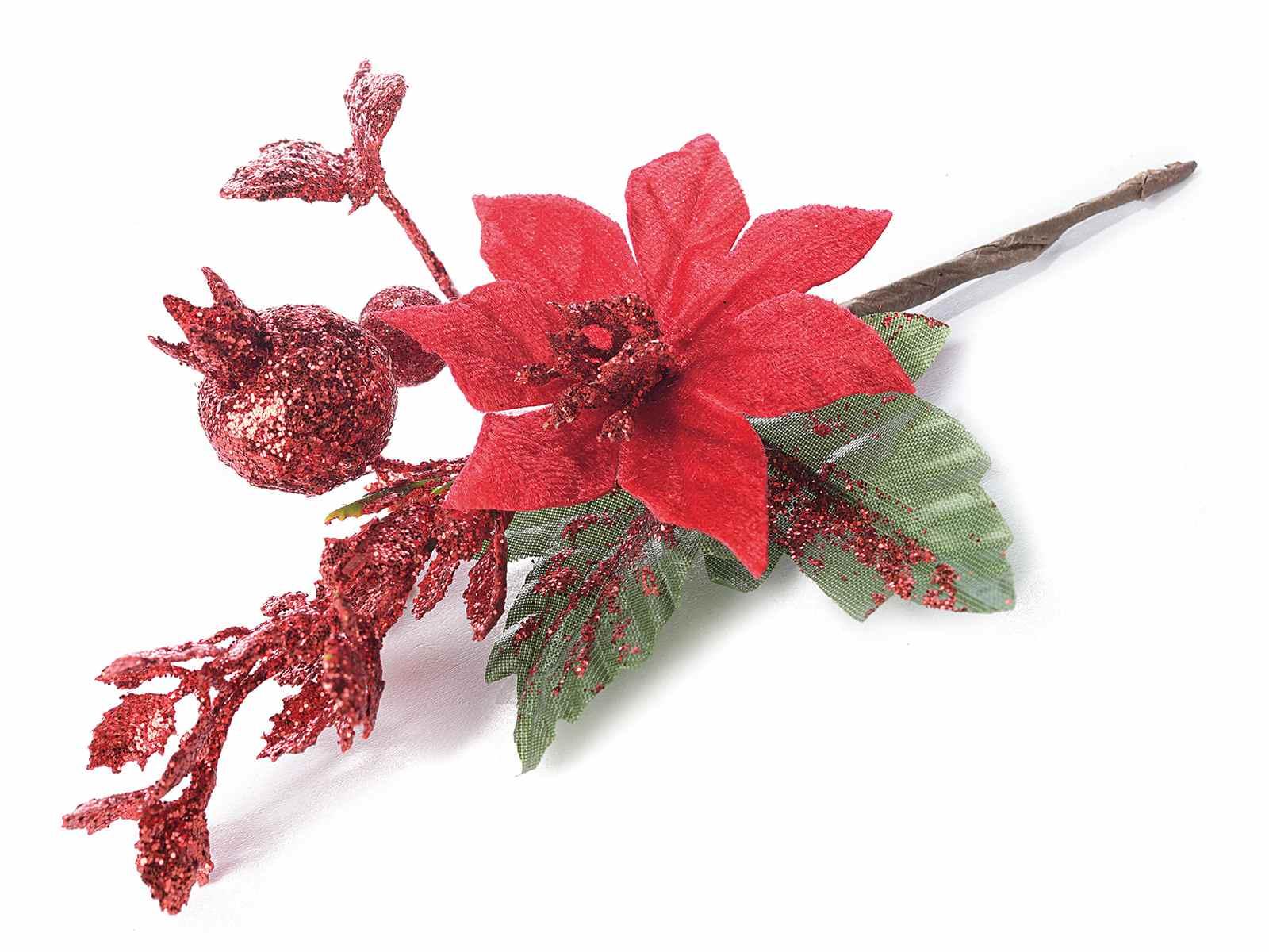 Immagini Stella Di Natale Glitter.Stella Di Natale Rossa In Stoffa Con Glitter E Decori 56 25
