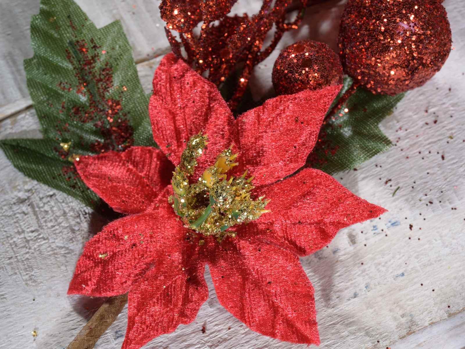 Stella Di Natale In Stoffa.Stella Di Natale Rossa In Stoffa Con Glitter E Decori 56 25 06