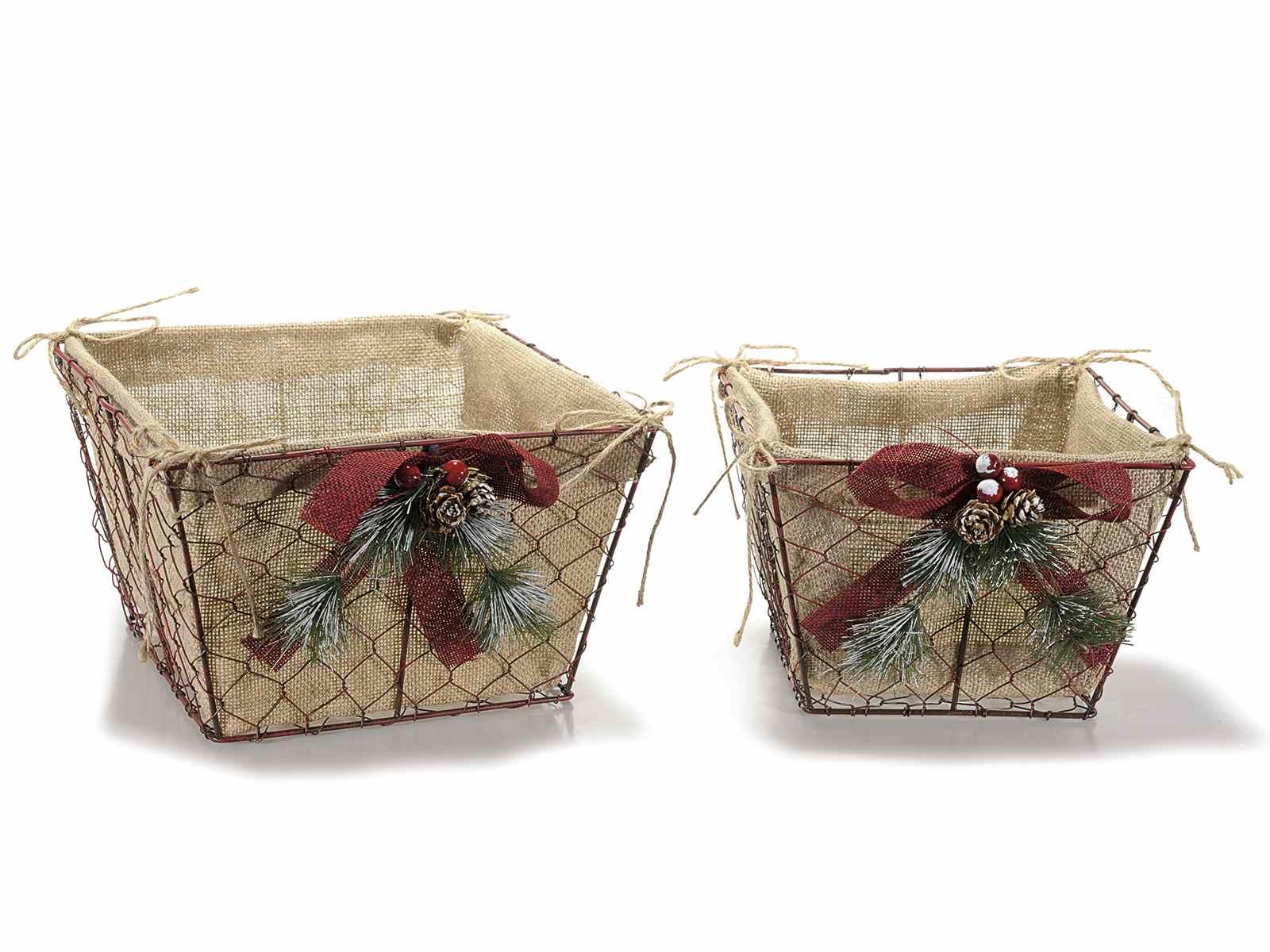 set cestas decoradas de metal con interno de yute