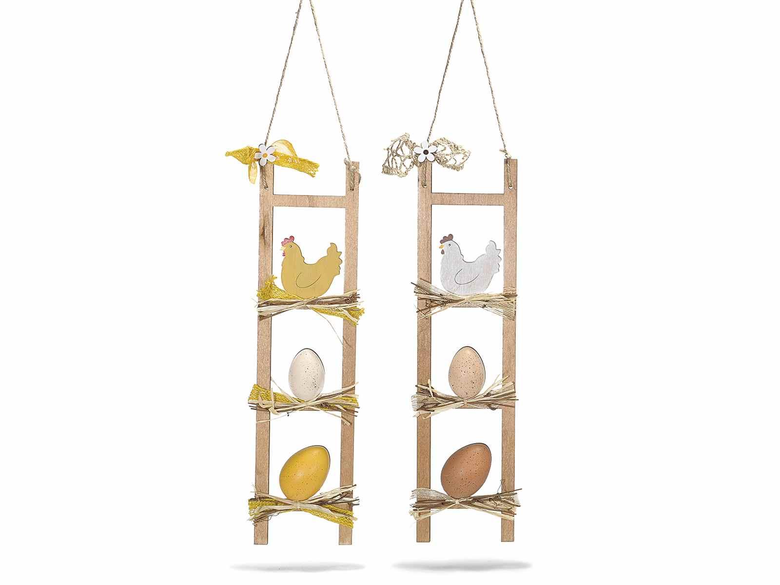 Scaletta decorativa con uova e gallina da appendere - Scala decorativa ...