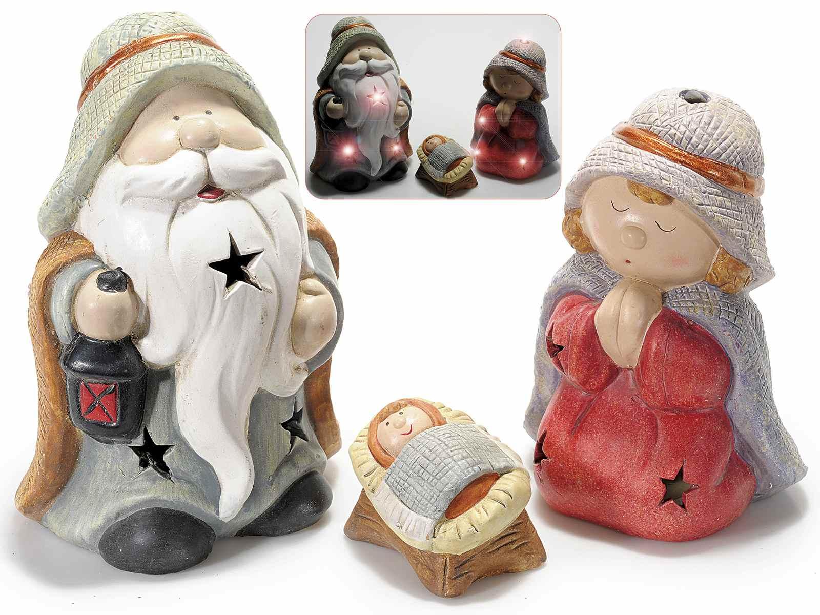 6258a26997f Set 3 personajes de belen de ceramica con luz LED (71.30.54) - Art ...