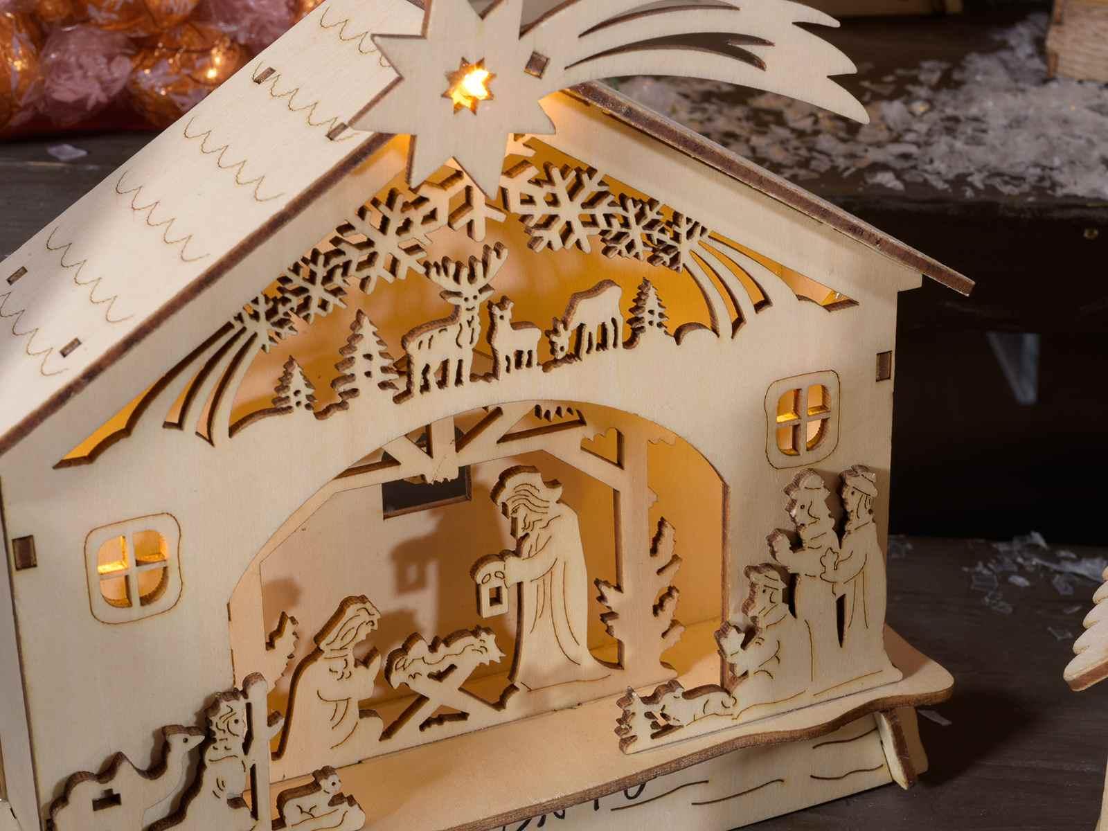 fc9a379c6a0 Pesebre navideño de madera decorada a laser con luz art JPG 1600x1200  Navideños laser pesebre para