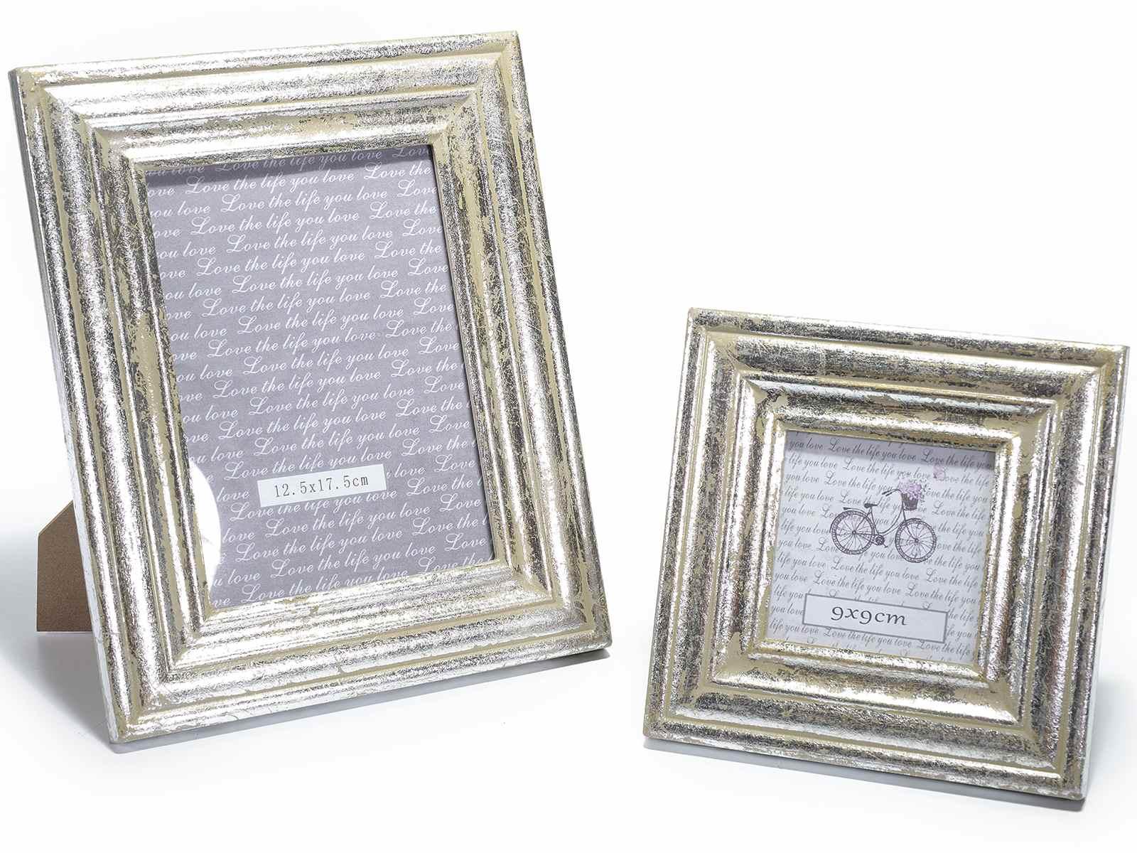 Set 2 cornici portafoto in legno effetto argento anticato for Cornici portafoto