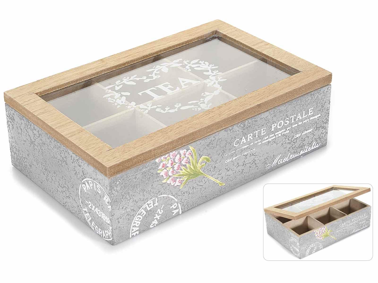 bo te th en bois 6 places avec couvercle en verre 51. Black Bedroom Furniture Sets. Home Design Ideas