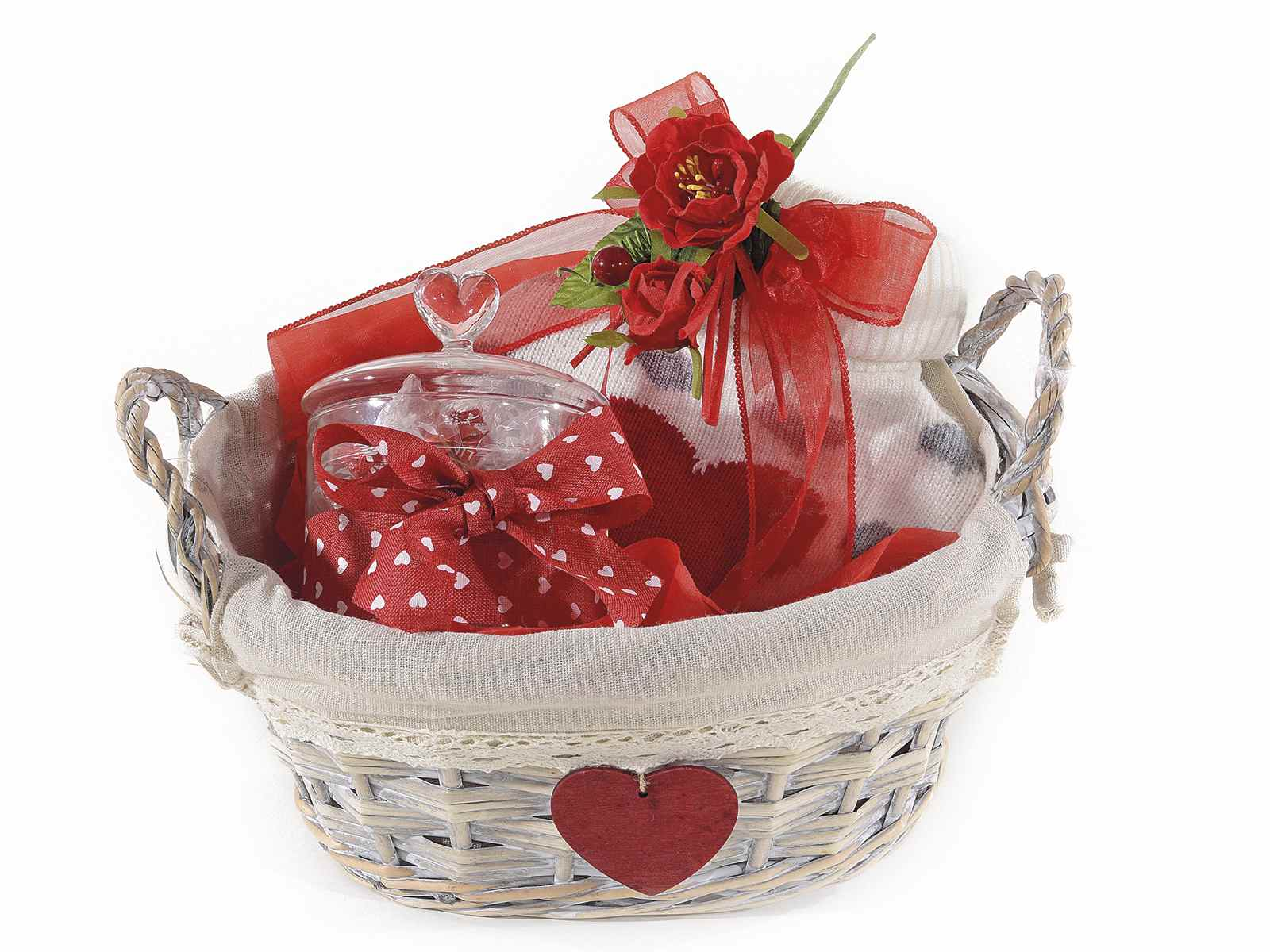 Set 3 Oval Wooden Basket With Handles And Heart Deco 513529