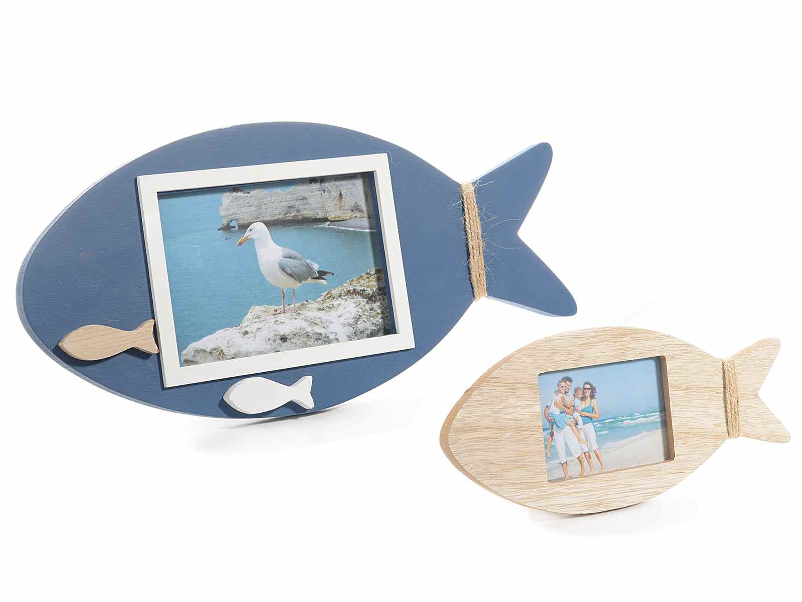 Set of 2 wooden fish shaped photo frames (51.33.03) - Art From Italy