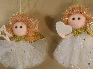 Decorative angel golden tulle hang