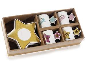Wholesaler ceramic cup saucer star design