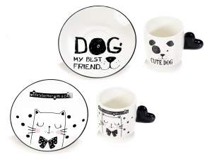Wholesaler coffee cups dog cat porcelain