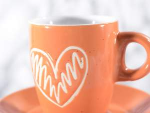 Wholesalers coffee cups ceramic heart decorations
