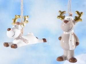 wholesale reindeer christmas decorations ceramic
