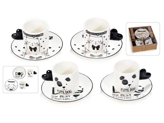 2 porcelain coffee cups and saucers Dog and Cat decorations