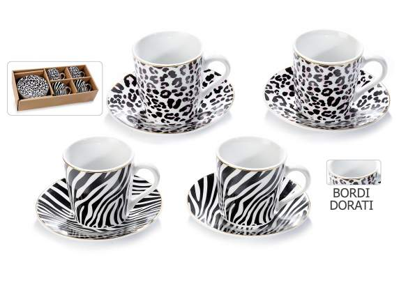 4 porcelain coffee cups and saucers ''Animalier'' package