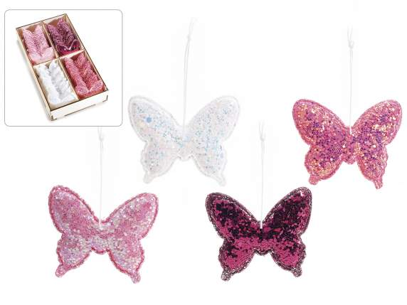 48 hanging butterflies with glitter expo