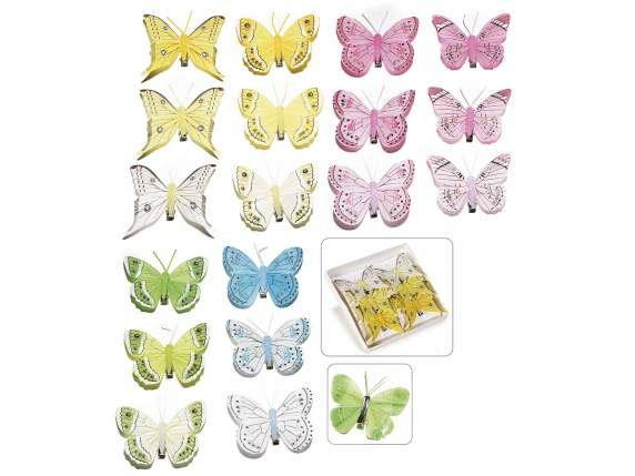 6 hand painted colorful butterflies box with metallic clip