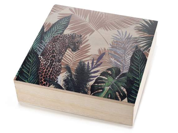 9 compartments wooden tea box ''Jungle'' decorations