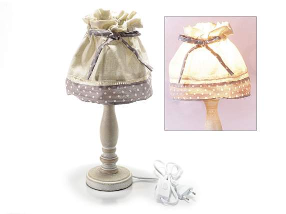 Wooden abat jour with dotted fabric lamp cover