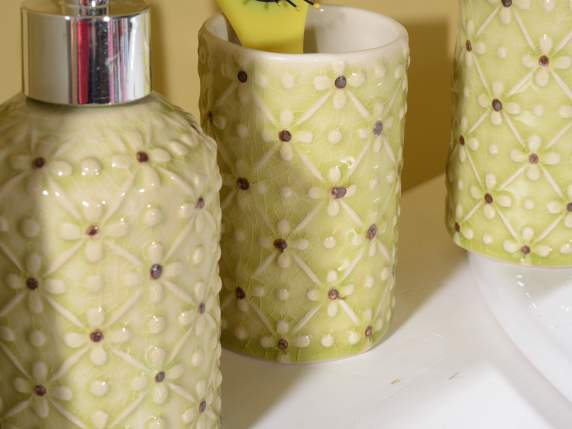 Set 4 accessori bagno in ceramica colorata con fiorellini