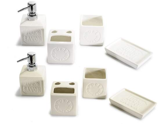 Set of 4 ceramic bathroom accessories