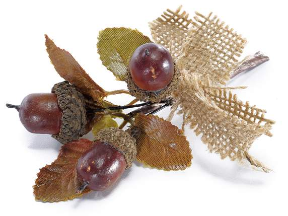 Bunch with acorns and jute ribbon