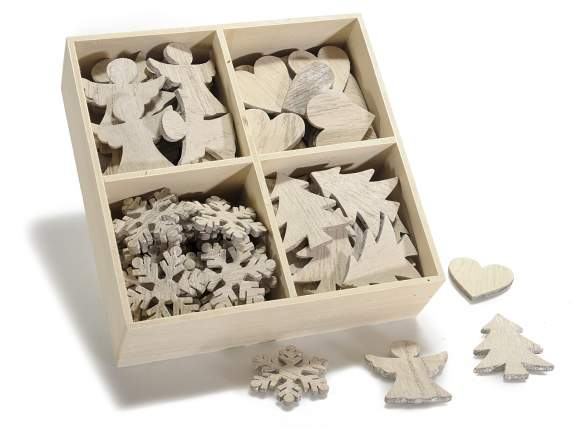 Box 96 Christmas decorations in wood with adhesive