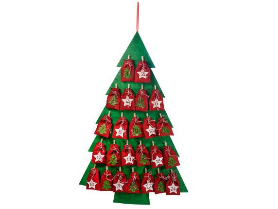 Advent calendar in Christmas tree shape w/bags