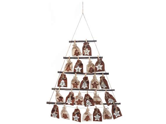 Advent calendar in tree shape w/wooden elements and bags