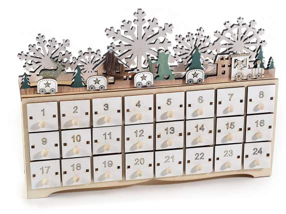 Advent wood calendar with 24 drawers and lihgt led