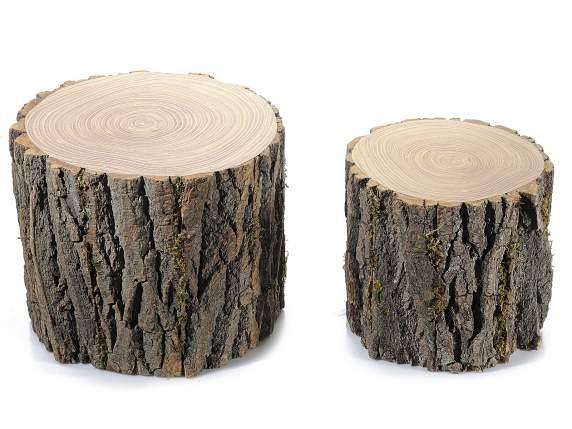 set de 2 troncos de madera decorativos art