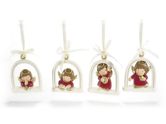 Hanging angels in resin for Xmas decorations