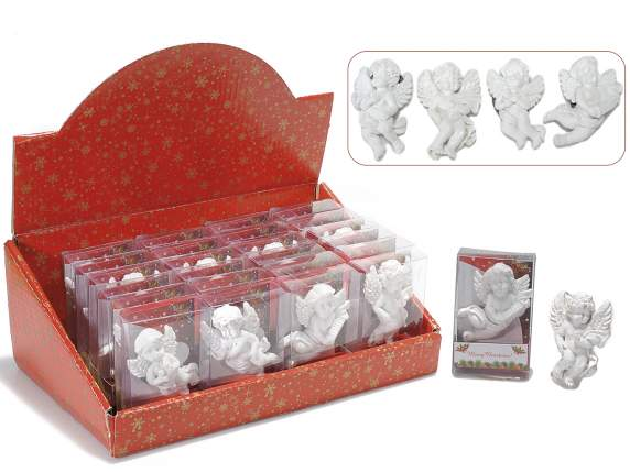 Magnet shaped angels in white resin