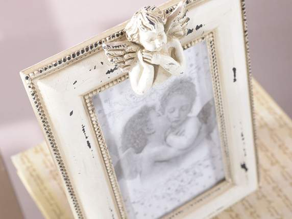 Antique wooden photo frame w-angel