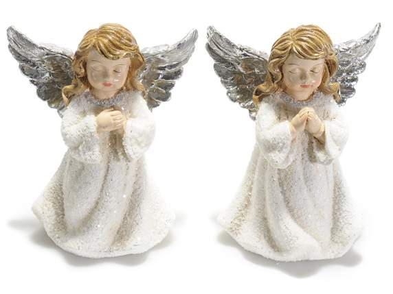 Angels in resin with silver wings