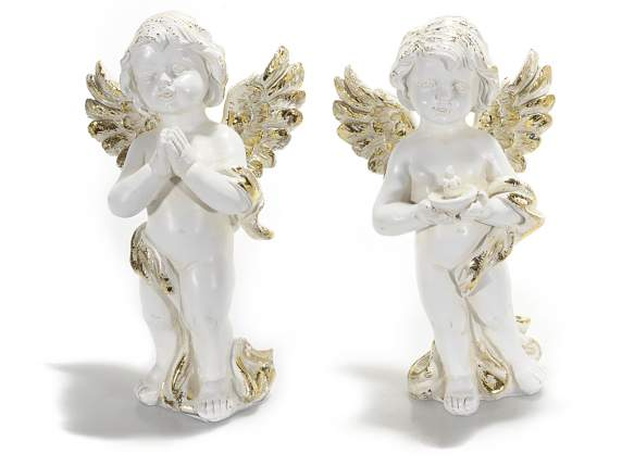 Angels in white resin with golden glitter wings