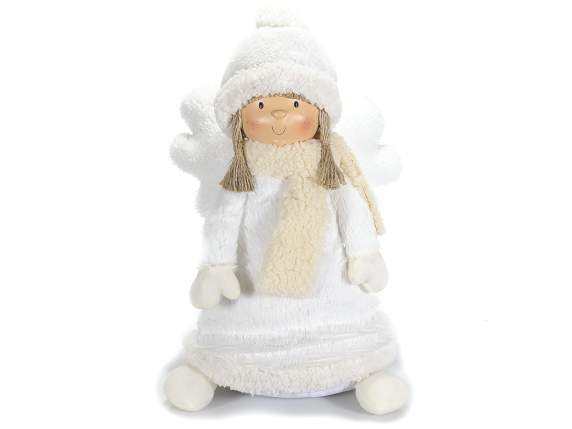 Xmas white angel with scarf and hat