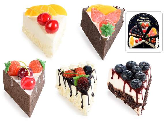 Artificial fruit cake slice with magnet and display