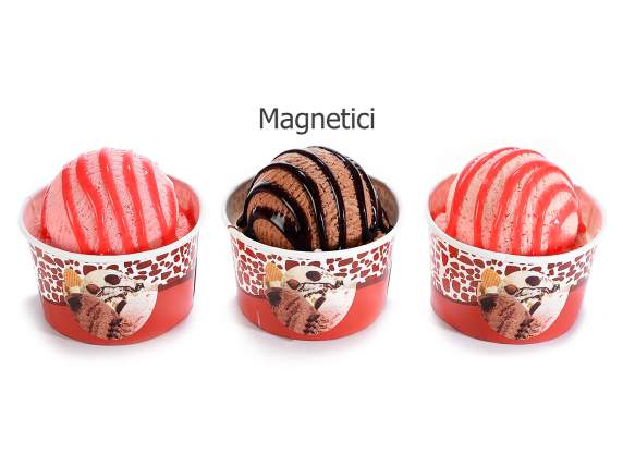 Artificial ice cream cup with topping and magnet