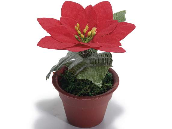 Artificial poinsettia in vase