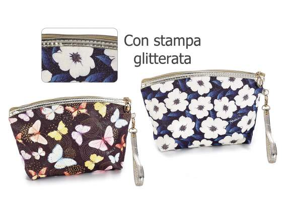Astuccio pochette in similpelle con stampa Blooming time