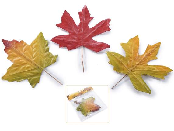 Box of 12 autumn leaves card with stem moldable