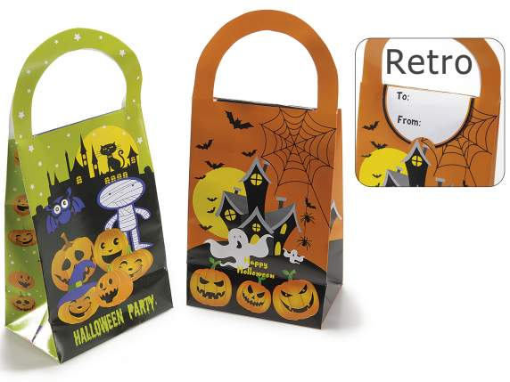 Paper box bag w-handle and Halloween decoration